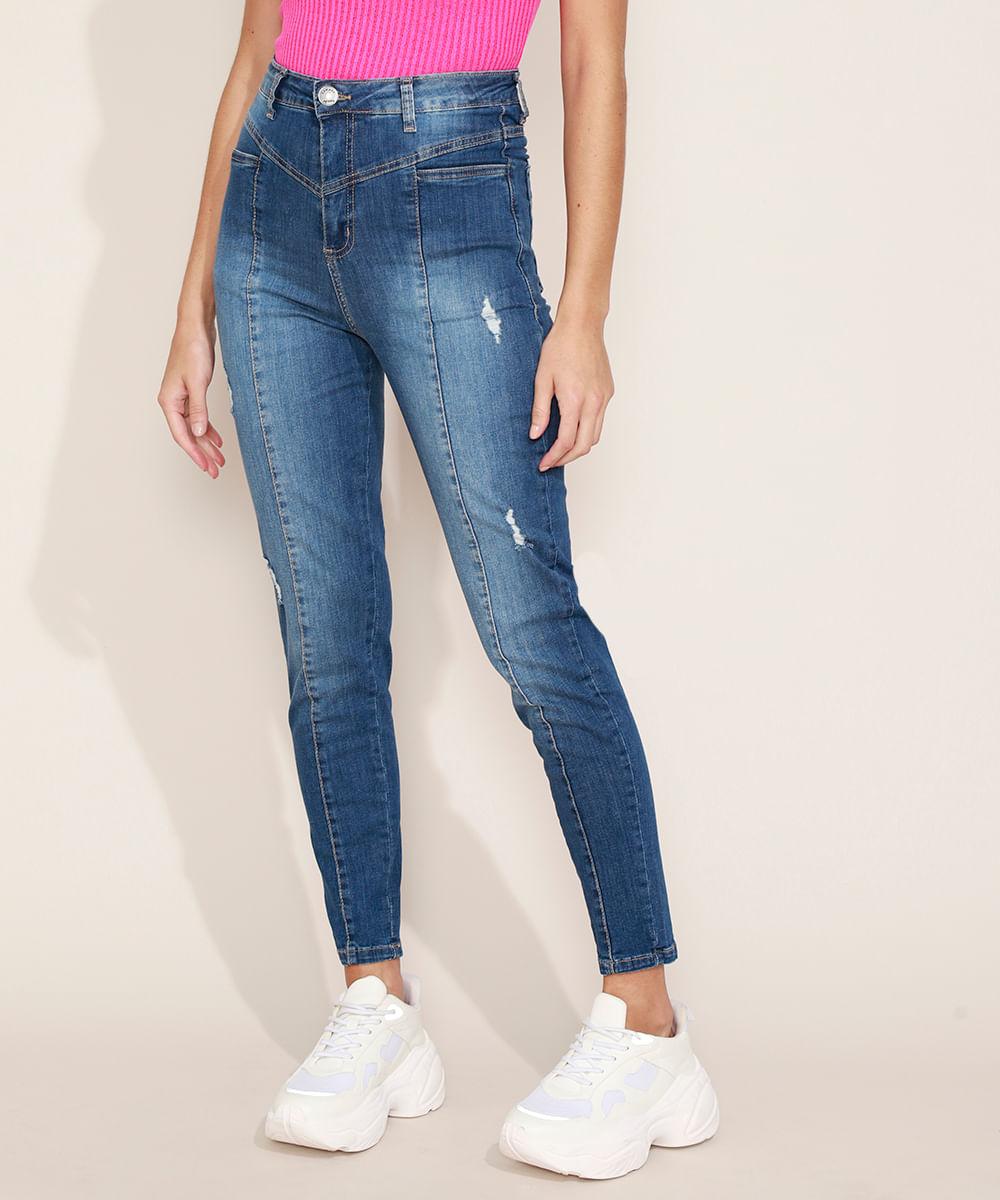 Calça Jeans Feminina Sway Super Skinny Cintura Alta com Recorte e Bolsos Azul Escuro