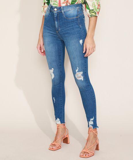 Calca-Jeans-Feminina-Sawary-Super-Skinny-Push-Up-Super-Lipo-Cintura-Alta-Destroyed-Azul-Medio-9974657-Azul_Medio_1