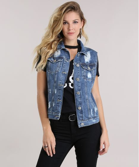 eb207e469f Colete-Jeans-Destroyed-Azul-Escuro-9006264-Azul Escuro 1 ...