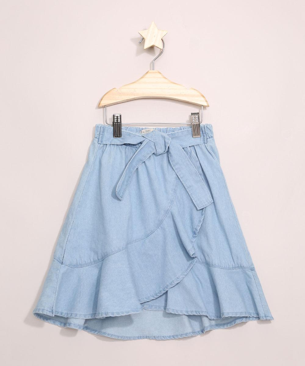 Saia Jeans Infantil Midi Transpassada com Babados Azul Claro