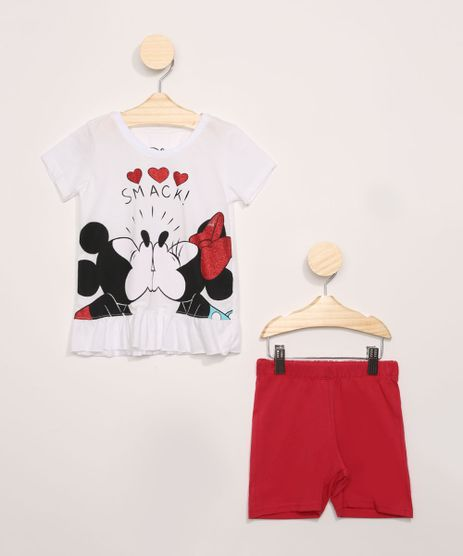 Conjunto-Infantil-de-Blusa-Mickey-e-Minnie-com-Glitter-Manga-Curta-Branca----Short-Vermelho-9965414-Vermelho_1