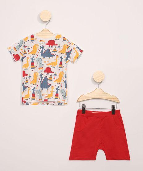 Conjunto-Infantil-de-Camiseta-Estampada-Dinossauros-Manga-Curta---Bermuda-com-Bolsos-Vermelha-9946967-Vermelho_1