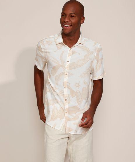 Camisa-Masculina-Tradicional-Estampada-de-Folhagem-Manga-Curta-Off-White-9969325-Off_White_1