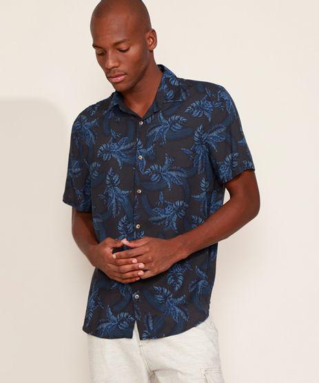Camisa-Masculina-Tradicional-Estampada-de-Folhagem-Manga-Curta-Azul-Marinho-9969326-Azul_Marinho_1