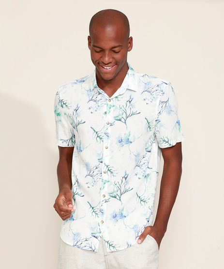 Camisa-Masculina-Tradicional-Estampada-Floral-Aquarelada-Manga-Curta-Branca-9969330-Branco_1
