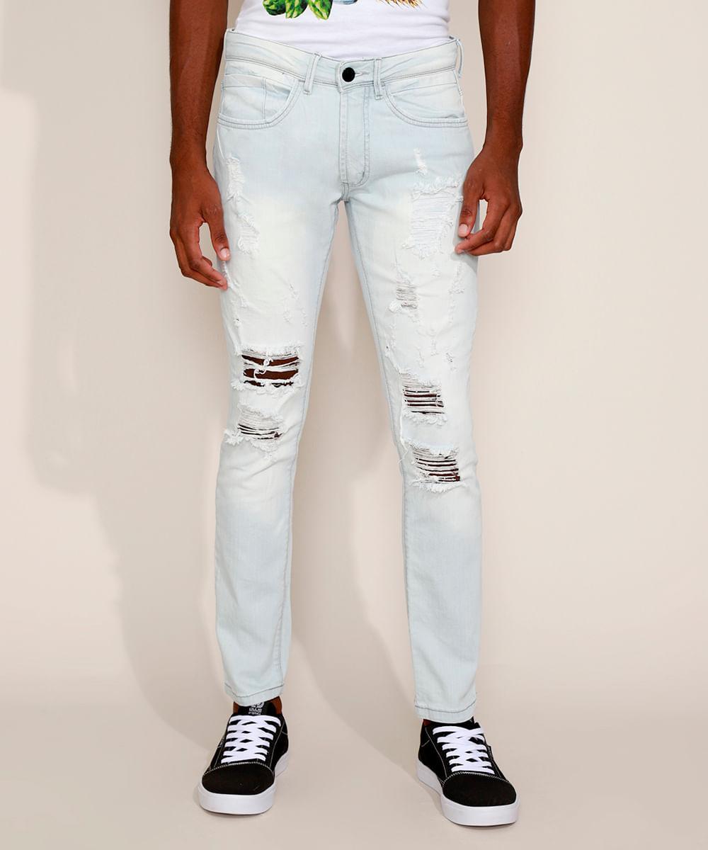 Calça Jeans Masculina Slim Destroyed Azul Claro