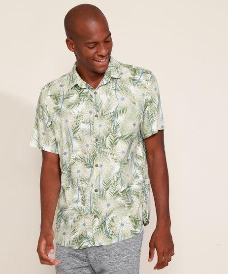Camisa-Masculina-Tradicional-Estampada-de-Folhagem-Manga-Curta-Off-White-9968740-Off_White_1