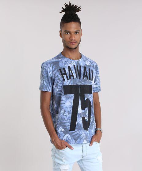 Camiseta-Estampada-Floral--Hawaii-75--em-Algodao---Sustentavel-Azul-8972065-Azul_1