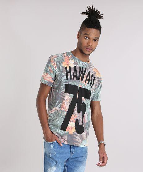 Camiseta-Estampada-Floral--Hawaii-75--em-Algodao---Sustentavel-Verde-8972065-Verde_1