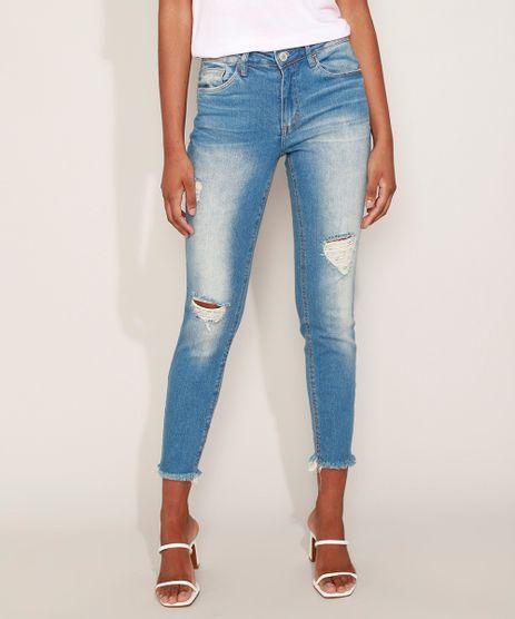 Calca-Jeans-Feminina-Cigarrete-Destroyed-com-Bolsos-Azul-Medio-9932022-Azul_Medio_1