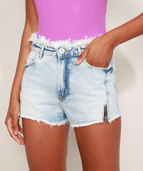 Short-Jeans-Feminino-Cintura-Media-com-Recortes-Ziper-e-Desfiado-Azul-Claro-9972422-Azul_Claro_1