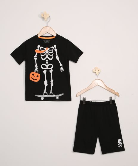 Pijama-Infantil-Halloween-Esqueleto-Manga-Curta-Preto-9969731-Preto_1