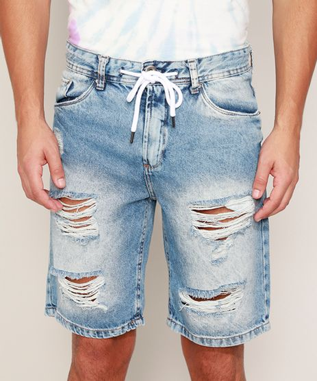 Bermuda-Jeans-Masculina-Slim-Destroyed-com-Cordao-Azul-Medio-9968932-Azul_Medio_1