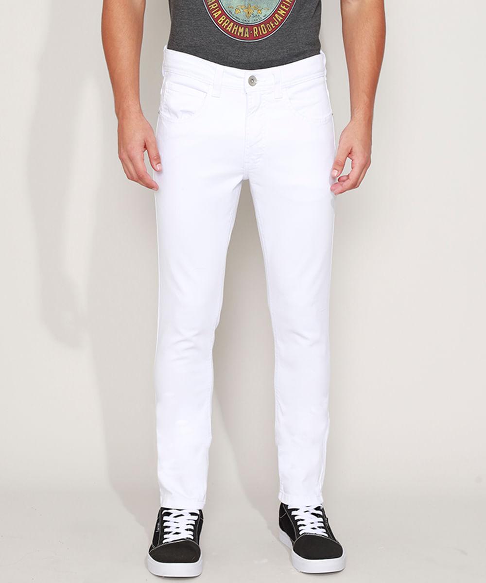 Calça de Sarja Masculina Skinny Branca