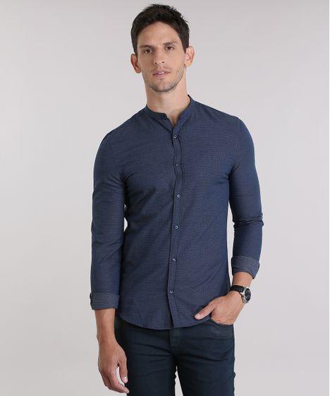 76fa8fa579 Camisa-Slim-Estampada-Azul-Marinho-8830942-Azul Marinho 1 ...