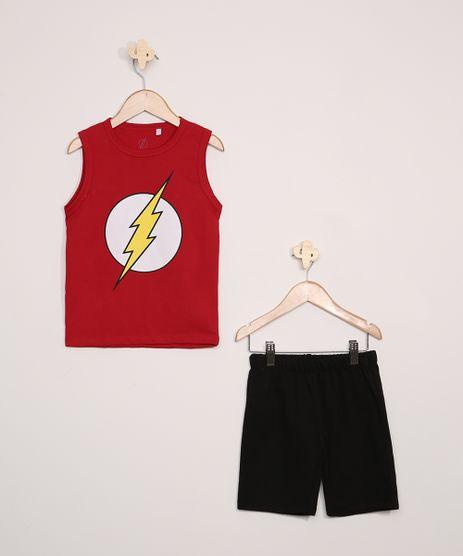 Conjunto-Infantil-The-Flash-de-Regata-Vermelha---Bermuda-de-Moletom-Preta-9974755-Preto_1