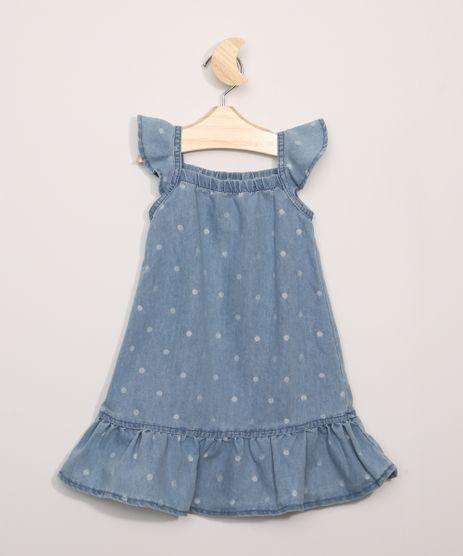 Vestido-Jeans-Infantil-Estampado-Poa-com-Babados-Sem-Manga-Azul-Claro-9963462-Azul_Claro_1