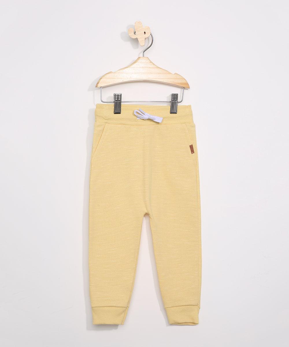Calça de Moletom Infantil Saruel com Bolsos Amarela