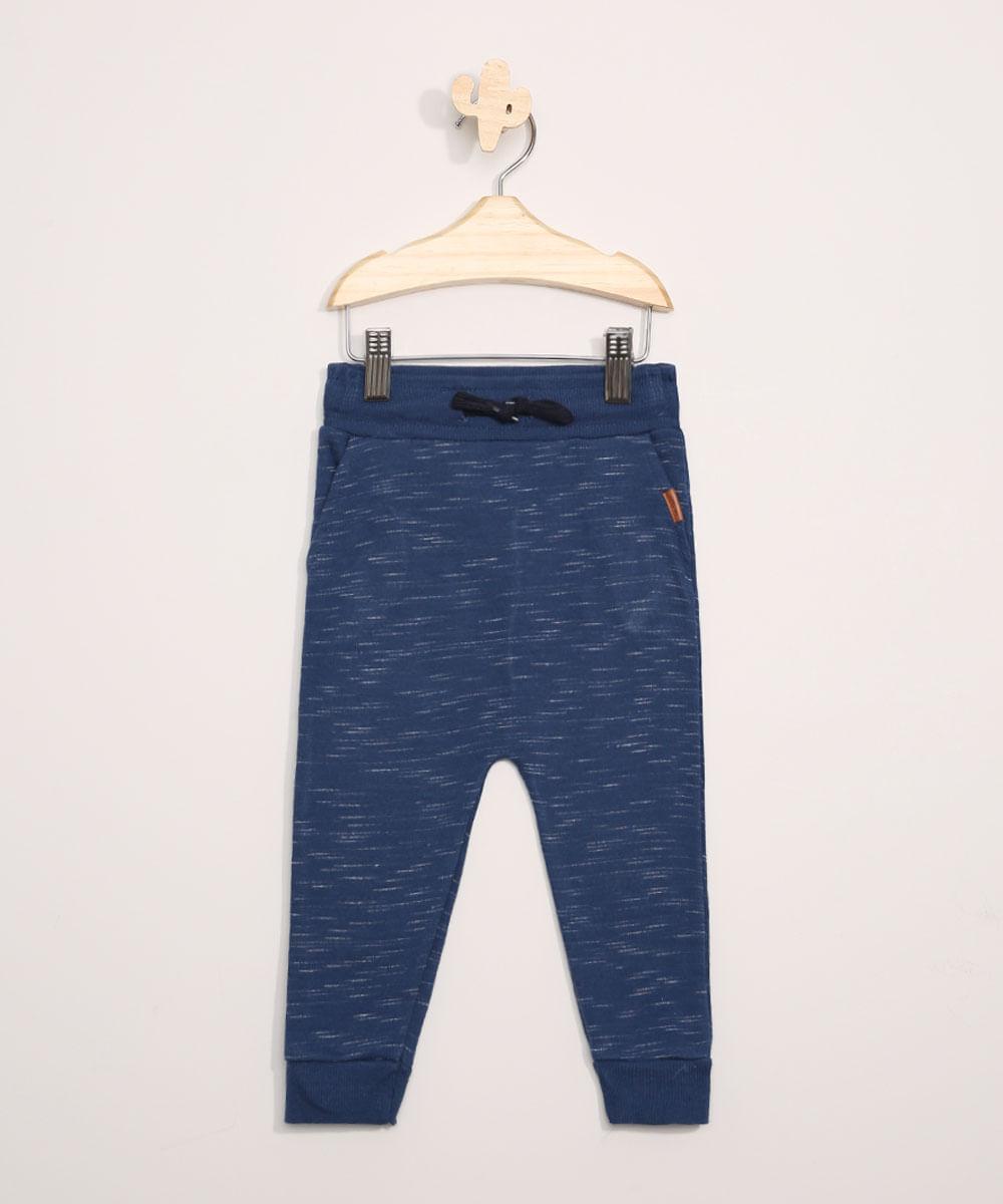 Calça de Moletom Infantil Saruel com Bolsos Azul