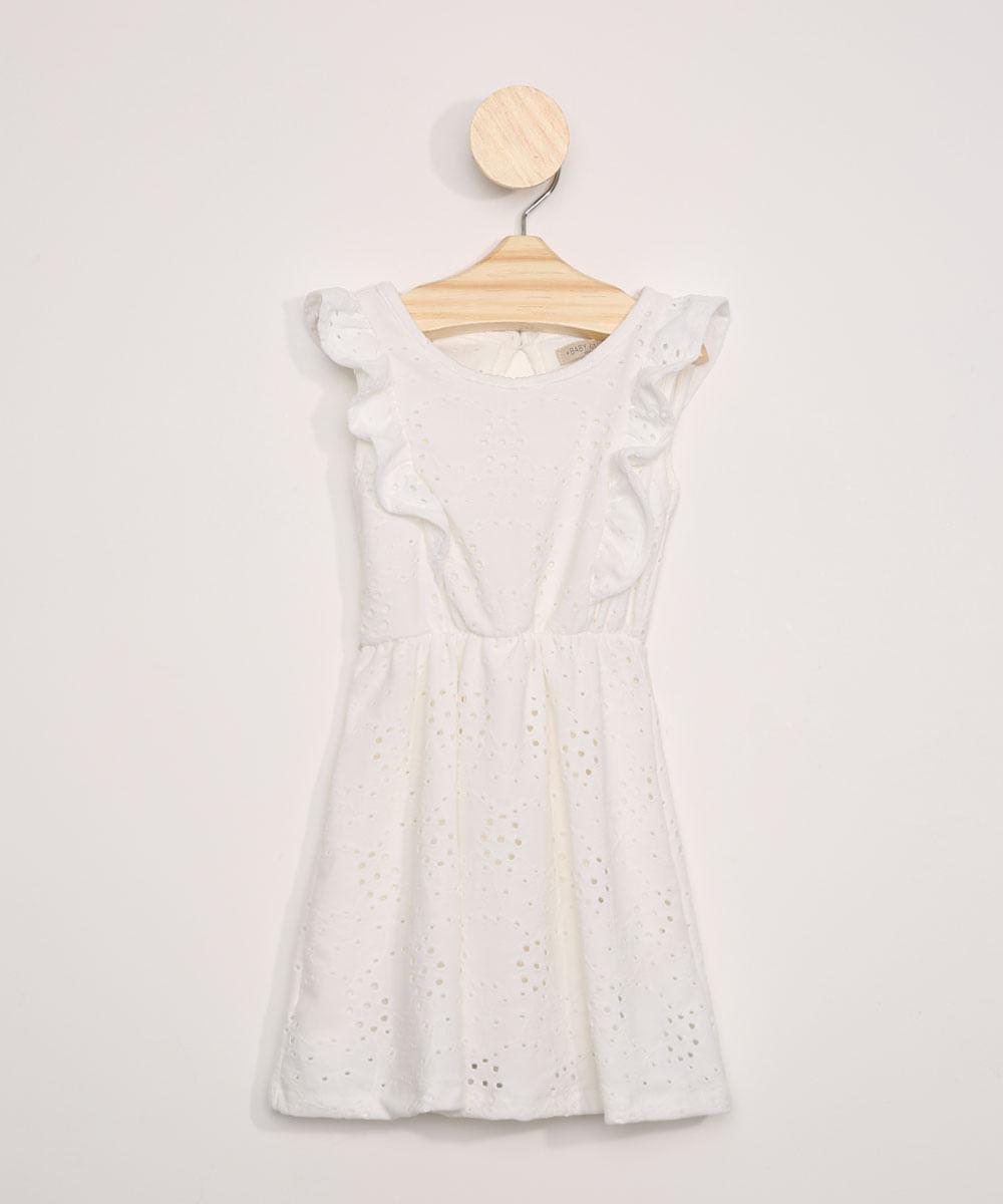 Vestido de Laise Infantil com Babados Manga Curta Decote Redondo Off White