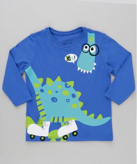 27ccc53c45911 Camiseta Infantil Dinossauro Manga Longa Gola Careca Azul Royal ...