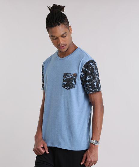 Camiseta-com-Bolso-Estampado-de-Folhagens-Azul-8959242-Azul_1