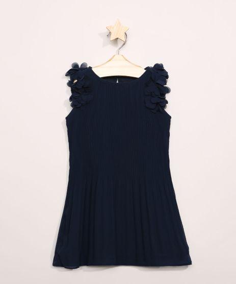 Vestido-Infantil-Plissado-com-Flores-Sem-Manga-Azul-Marinho-9953645-Azul_Marinho_1