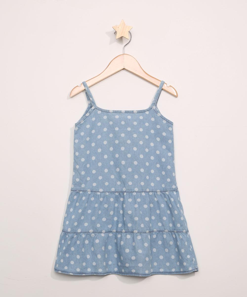 Vestido Jeans Infantil Estampado de Poá com Babados Sem Manga Azul Claro