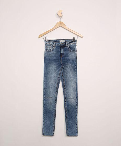 Calca-Jeans-Juvenil-Skinny-Marmorizada-com-Rasgo-no-Joelho-Azul-Medio-9966610-Azul_Medio_1