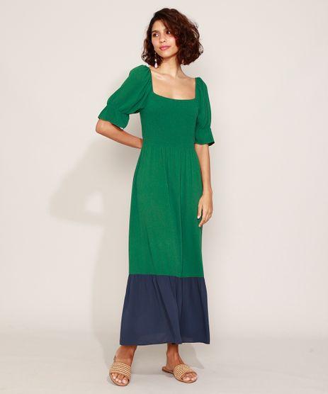 Vestido-Feminino-Longo-com-Recorte-Manga-Curta-Bufante-Verde-9957717-Verde_1