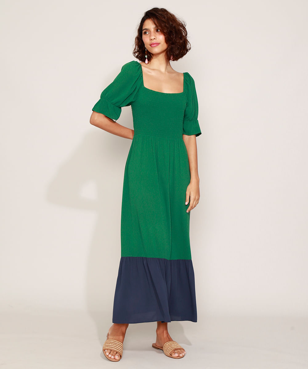 Vestido Feminino Longo com Recorte Manga Curta Bufante Verde