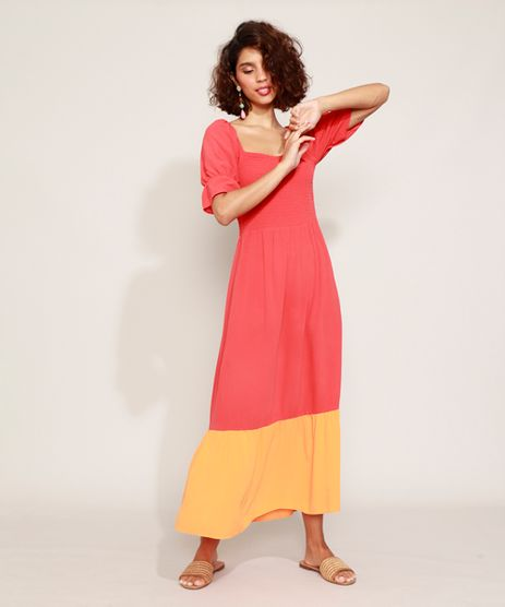 Vestido-Feminino-Longo-com-Recorte-Manga-Curta-Bufante-Vermelho-9957717-Vermelho_1