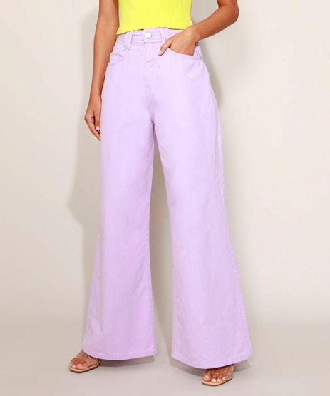 Calca-de-Sarja-Feminina-Wide-Pantalona-Cintura-Alta-Lilas-9974482-Lilas_1