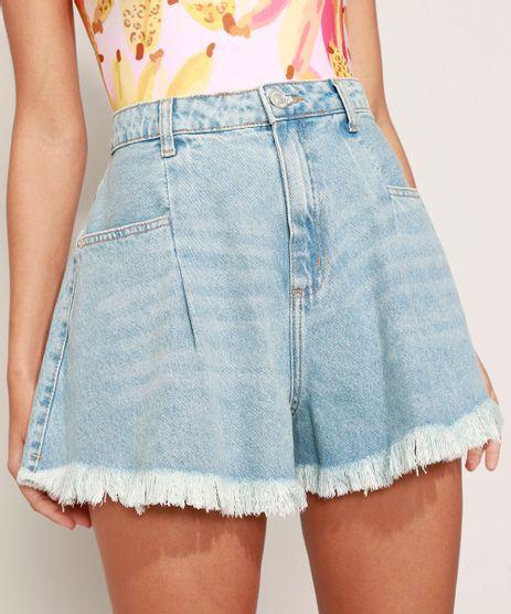 Short-Jeans-Feminino-Gode-Cintura-Alta-com-Pence-Barra-Desfiada-Azul-Medio-9979816-Azul_Medio_1