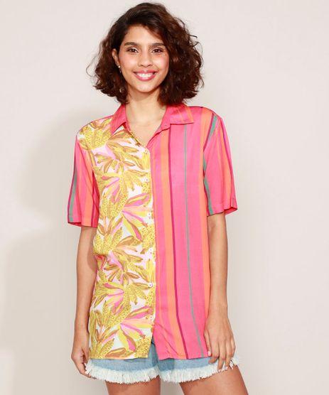 Camisa-Feminina-Estampada-Listras-e-Bananas-Manga-Curta-Coral-9968087-Coral_1