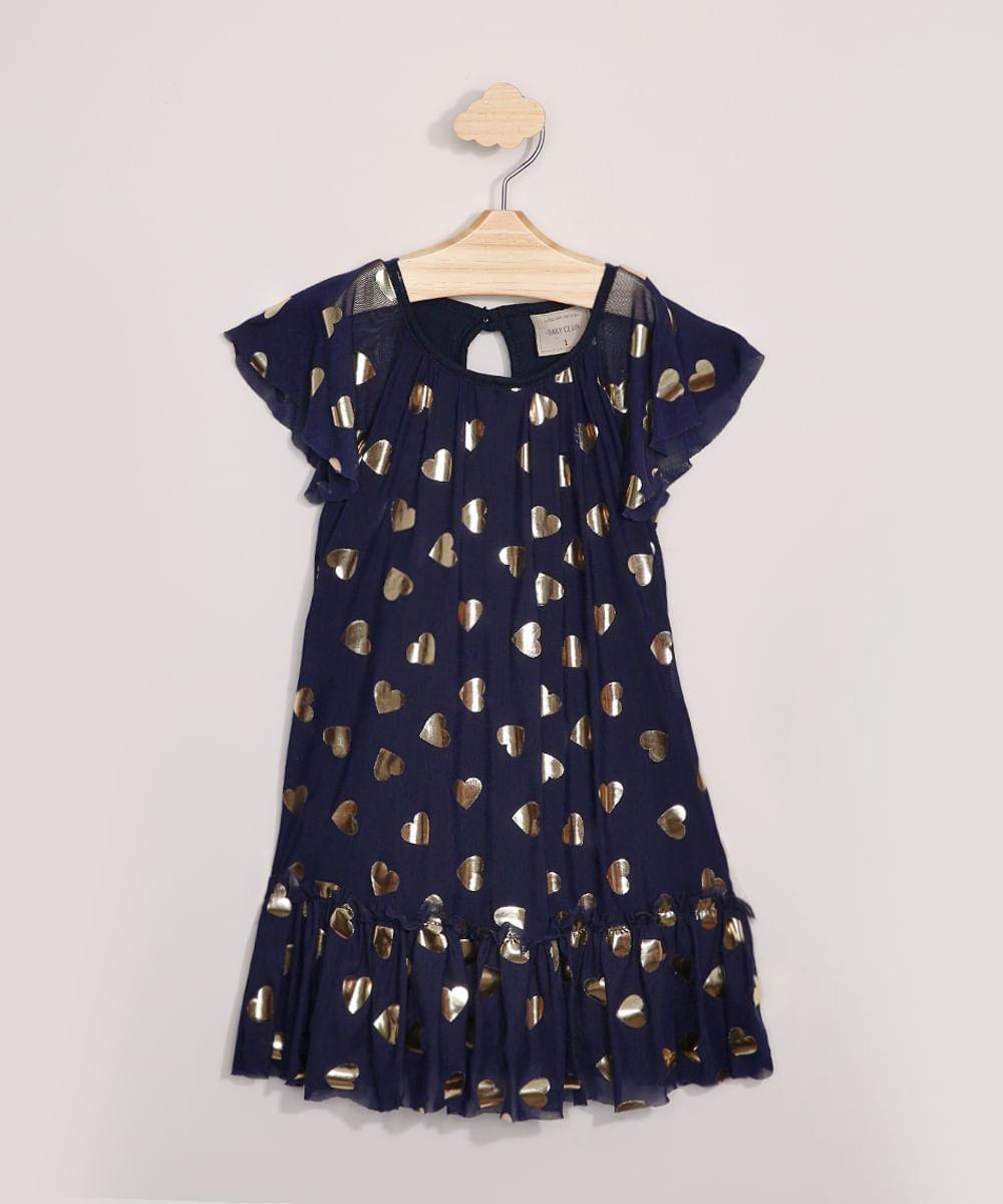 Vestido de Tule Infantil Estampado de Corações Metalizado Manga Curta Azul Marinho