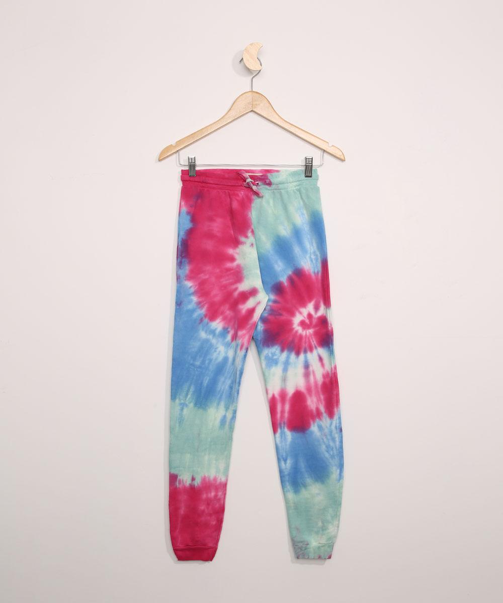 Calça de Moletom Juvenil Jogger Estampada Tie Dye Multicor