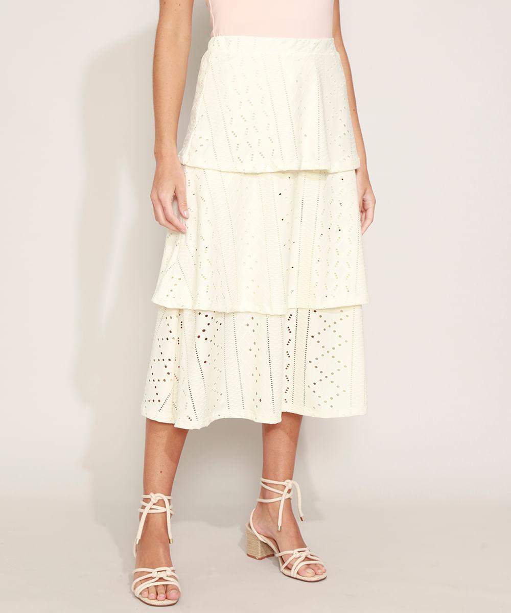 Saia de Laise Feminina Midi com Camadas Off White