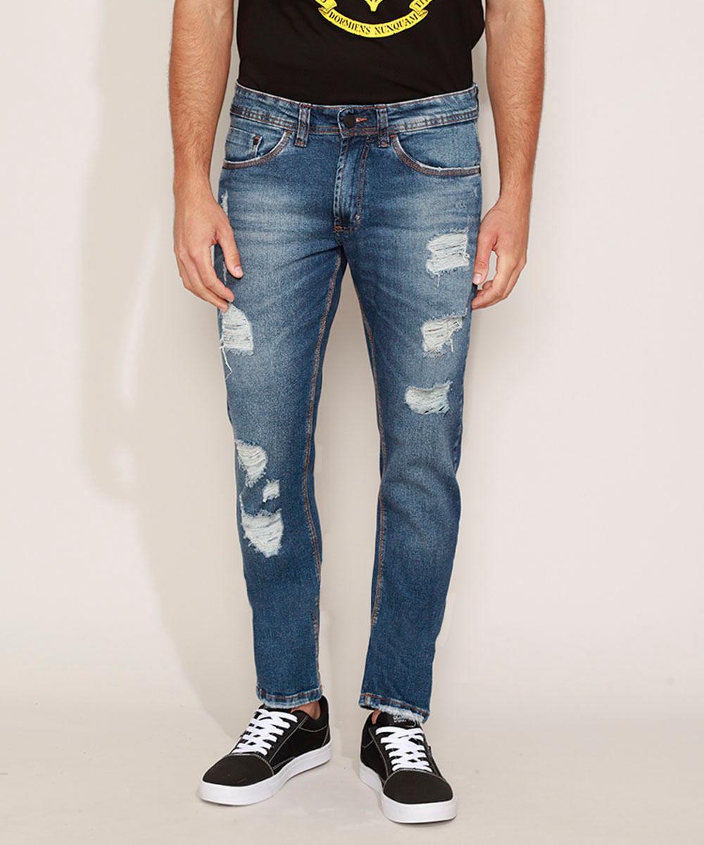 Calça Jeans Masculina Slim Destroyed com Bolsos Azul Escuro