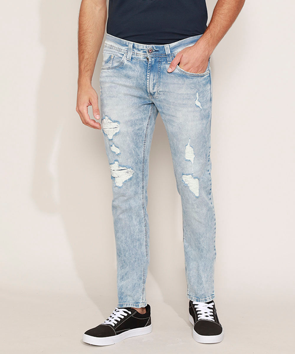 Calça Jeans Masculina Slim Destroyed com Bolsos Azul Claro