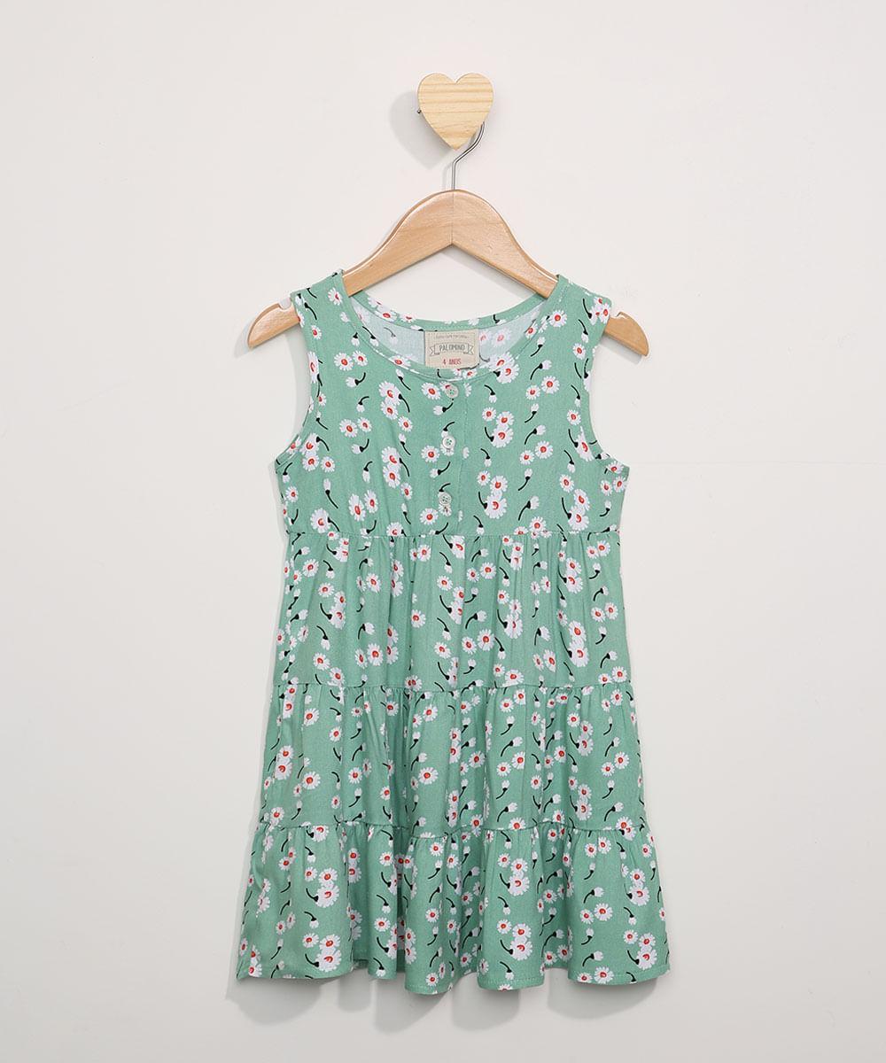 Vestido Infantil Amplo com Recortes Estampado Floral Sem Manga Verde