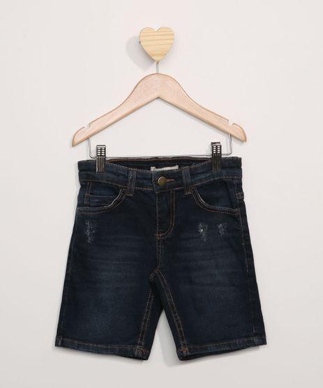 Bermuda-Jeans-Infantil-Reta-com-Puidos-e-Bolsos-Azul-Escuro-9973786-Azul_Escuro_1