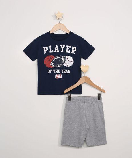 Conjunto-Infantil-de-Camiseta--Player-Of-The-Year--Manga-Curta---Bermuda-de-Moletom-Cinza-Mescla-9969172-Cinza_Mescla_1