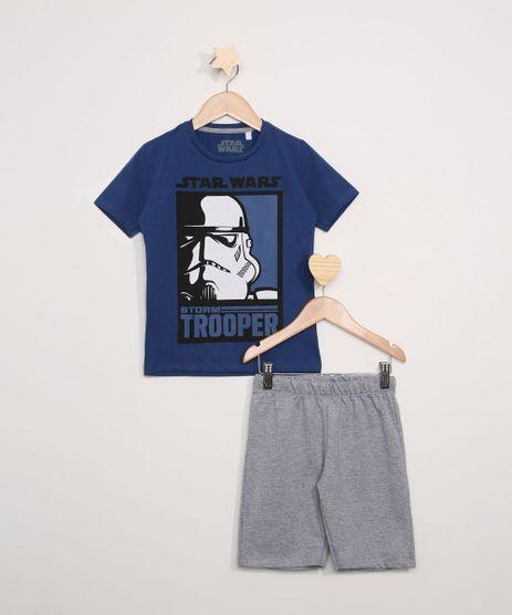 Conjunto-Infantil-de-Camiseta-Star-Wars-Manga-Curta---Bermuda-de-Moletom-Cinza-Mescla-9974754-Cinza_Mescla_1