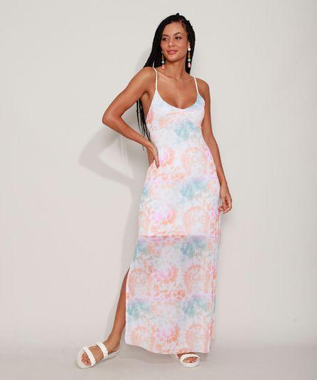 Vestido-de-Tule-Feminino-Longo-Estampado-Tie-Dye-com-Fenda-Alca-Fina-Multicor-9967945-Multicor_1