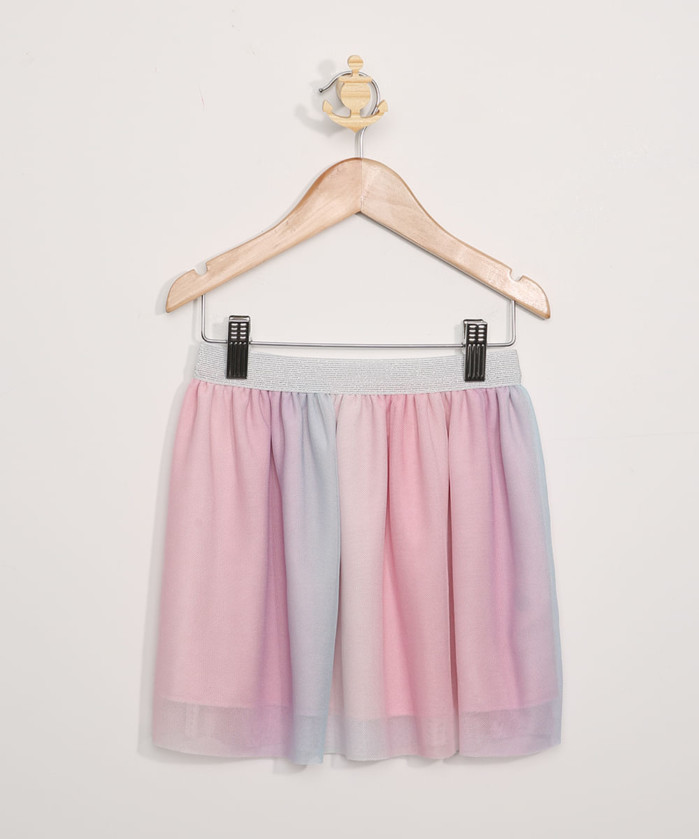 Saia de Tule Infantil Estampada Tie Dye Rosa