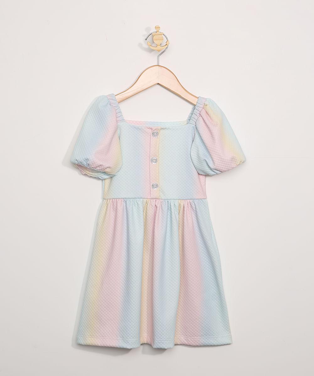 Vestido Infantil Estampado Tie Dye Manga Curta Bufante Decote Reto Multicor