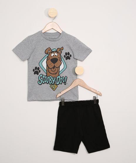 Conjunto-Infantil-de-Camiseta-Scooby-Doo-Cinza-Mescla---Bermuda-Moletom-Preta-9968186-Preto_1