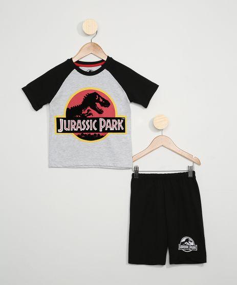 Pijama-Infantil-Jurassic-Park-Manga-Curta-Cinza-Mescla-9966395-Cinza_Mescla_1