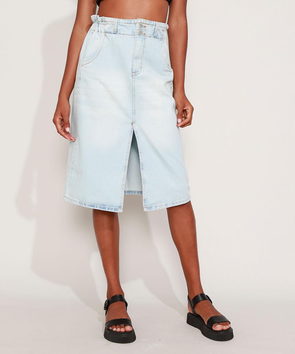 Saia Jeans Feminina Midi Clochard com Fenda Azul Claro